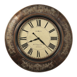 "HOWARD MILLER - Howard Miller Le Chateau 37-1/4"" Large Wall Clock - This 37-1/4"" diameter oversized gallery wall clock features a raised vine pattern on the frame, and is finished in burnished brown with a dusty glaze hang up."
