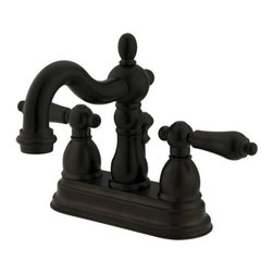 """Kingston Brass - Kingston Brass KB1605ALB Oil Rubbed Bronze Heritage Heritage Centerset - Double Handle 4"""" Centerset Lavatory Faucet with American Lever Handles from the Heritage CollectionKingston BrassÂ' primary mission is to become the leading provider of cost effective, high quality products in the plumbing community. Their focus has made them grow by leaps and bounds in just a few years by identifying the key problems in manufacturing today and solving them. Kingston Brass produces high quality products ranging from kitchen, bath, and lavatory faucets to accessories such as diverters, towel bars, robe hooks, supply lines, and miscellaneous parts. With the low price, amazing stock times and quality products, you can rest assured that when you order a Kingston Brass product you will love every part of the experience, and it will last for generations to come.Features:Coordinates well with Traditional / Classic theme1/4 turn valvesCeramic disc cartridgeIncludes drain assemblyConstructed from solid brass for durability and reliabilityFinished with a premium color to resist tarnishing and corrosionFaucet holes: 2Handle style: Metal LeverNumber of handles: 2Drain assembly included: YesSpecifications: Height: 3.125""""Spout reach: 4.75""""Spout height: 1.5"""""""