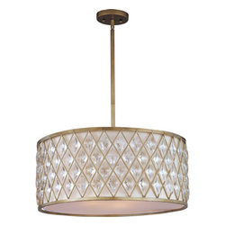 Maxim Lighting - Maxim Lighting 21457OFGS Diamond 4 Light Pendants in Golden Silver - Diamond-shaped crystals gracefully fit the openings in these metal frames finished in a rustic Golden Silver finish, and creamy Off White fabric shades line each frame of the Diamond collection. The oval-shaped pendant is sure to be the focal point of any fine d�cor.