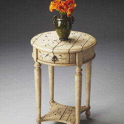 Butler Furniture Winter Forest Accent Table - 2096130 - The hand-painted Winter Forest Finish lays on this beautifully proportioned table like the winter's first snowfall, making it a compelling addition to virtually any space. Crafted from poplar hardwood solids and wood products, it is finessed in a crackled linen texture. The drawer opens with an elegant pull finished in antique brass and legs are stylishly tapered. It's attractive design features a charming look and is crafted from selected hardwoods. The table includes one drawer and one bottom shelf.