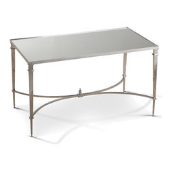 Kathy Kuo Home - Antibes French Art Deco Regency Style Polished Silver Mirrored End Table - Occasional tables add endless options for entertaining and everyday convenience. With sleek lines and complementary materials, this piece also adds sparkle and style. Polished nickel slender legs hold a clear, mirrored top for a stunning side table, corner table or even small coffee table.