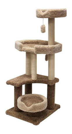 "MAJESTIC PET PRODUCTS - 55"" Kitty Cat Jungle Gym - Covered in designer carpet, this kitty gym features four lounging areas and two dangling cat toys to keep your cat busy. Plus, she can take a nap when she's tired. Easy for humans to assemble."