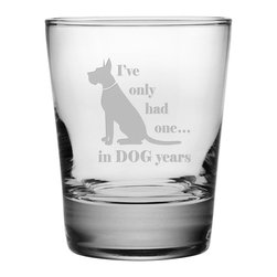 Susquehanna Glass - Dog Years Double Old Fashioned Glass, 13.25oz, S/4 - Each 13.25 ounce tumbler is sand etched with a playful dog-themed design. Dishwasher safe. Sold as a set of four. Made and decorated in the USA.