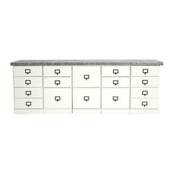 """Ballard Designs - Original Home Office 5-Cabinet Credenzas with Zinc Top - Generous 81""""W work surface. File Storage Cabinets have full-extension glides. Open Storage Cabinets have coordinating basket options (sold separately). Crafted with solid wood frames & fine veneers. Swatches available. We invented the modular Original Home Office to give you total design flexibility. Each piece works with every other, so you can create an office that works perfectly for you. To customize your Credenza, choose any five cabinets from seven versatile options. Select a wood top to match your cabinet finish or zinc top with your choice of cabinet finish. Adjust the working height by adding an optional Plinth Base. Add a Large Open Base or 4-Drawer Hutch (see Hutches) to create vertical storage above. Finished on three visible sides and designed to stand against the wall. See all your options below. 5-Cabinet Credenza features:  . .  . . . Download free Design Guide above. Download free drawer label templates above."""