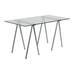 Flash Furniture - Flash Furniture Glass Computer Desk with Silver Frame - Flash Furniture - Computer Desks - NANJN2119GG - This spacious Glass Desk has an architectural appeal with its leg design. This desk shows off a sleek appeal that will complement any contemporary work space.