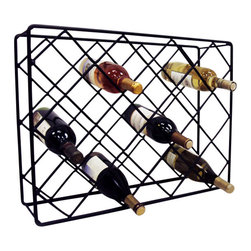 J&J Wire - Rectangular Wine Rack - Wine and glasses not included. Heavy construction. Welded fabrication. Holds 18 bottles. Table-top design. Made from wrought iron. Black powder coated finish. Made in USA. No assembly required. 24 in. W x 6.5 in. D x 17.5 in. H (11 lbs)The rectangle diamond wine rack is a piece that will showcase 18 bottles of wine. This custom black powder-coat finish complements the collections in a simple, but elegant fashion.
