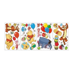 RoomMates Peel & Stick - Winnie the Pooh - Pooh and Friends Wall Decal - Celebrate the friendships that have delighted generations with these wall decals of characters from Winnie the Pooh. Featuring Pooh, Tigger, Eeyore, and Piglet, children will love these bright and colorful stickers. Pair these delightful stickers with our giant wall decals or wall border to create a full Pooh and Friends room makeover! These wall stickers from the Winnie the Pooh series are wonderful for fans of any age. The decals can be repositioned at any time, and will never leave behind any sticky residue if removed. For more fun on your walls, pair these delightful decals with any of the borders and sidewalls in our Pooh and Friends collection. Winnie the Pooh and Tigger, too! Celebrate the timeless tale of Winnie the Pooh and his friends with our selection of adorable Winnie the Pooh wall decals, pre-pasted borders, growth charts, and wallpaper. Our Pooh and Friends wall decor collection is the perfect way to decorate a nursery or child's room!.