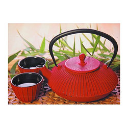 Oriental Furniture - Red Teapot Canvas Wall Art - A sharp print of a Japanese tea set on a geometric-design mat with leafy green bamboo in the background. The preparation and consumption of tea has great cultural significance in Japan, dating back thousands of years. Iron teapots are thought to impart strength and vitality to the tea. Jet ink print on canvas over a kiln-dried wood frame, lightweight but durable.