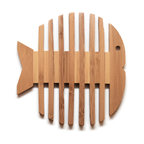 Kitchen Swimmer - The Hot Plate Trivet - don't damage your counter or tabletops with help from this unique hot plate trivet.  place your hot mugs, cups, plates, etc. on this wooden trivet featuring the shape of a fish, adding a splash of fun to your kitchen or dining room.