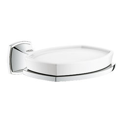 Grohe - Grohe 40628000 Chrome Grandera Series Soap Dish With Holder - Grohe Grandera 40628 000. This wall-mounted soap dish is designed with a frosted glass construction, and has StarLight Chrome trim. This model comes with all of the necessary mounting hardware and instructions.
