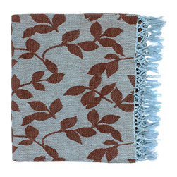 Timora Throw - Mocha and Sky Blue - Mocha leaves scatter atop the fabric of the Timora Throws soft, sky blue background beautifully, making this throw ideal for the nature lover. Made of cozy cotton, this throw is an ideal finishing touch to a spare bedroom and also makes a thoughtful gift. Sky blue fringe finishes the throw gorgeously.