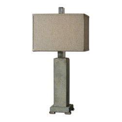 Uttermost - Uttermost Risto Table Lamp w/ Rectangle Box Shade in Oatmeal Linen - Table Lamp w/ Rectangle Box Shade in Oatmeal Linen belongs to Risto Collection by Uttermost Concrete base with lightly antiqued brushed aluminum accents. The rectangle box shade is an oatmeal linen fabric with natural slubbing. Table Lamp (1)