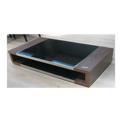 Beverly Hills Furniture Inc. - Flex Storage Coffee Table with Black Glass Insert - A stylish addition to your space - Flex Storage Coffee Table with Black Glass Insert is amazing two-tone open storage coffee table with walnut veneer frame, black glass insert and brushed aluminum trim.