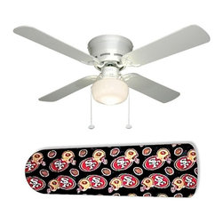 "San Francisco 49 ers Forty Niners 42"" Ceiling Fan and Lamp - 42-inch 4-blade ceiling fan with a dome lamp kit that comes with custom blades. It has a white flushmount fan base. It has an energy efficient 3-speed reversible airflow motor for year long comfort. It comes with complete installation/assembly instructions. The blades can be cleaned with a damp cloth. It is made with eco-friendly/non-toxic products. This is brand new and shipped in the original box. This is not a licensed product, but is made with fully licensed products. Note: Fan comes with custom blades only."