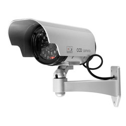 None - Security Camera Decoy with Blinking LED - Convince the bad guys they are being filmed with this modern fake security camera. Made from plastic,this fake camera's flashing LED light and realistic appearance should deter criminal activity. It is easy to mount and no wiring is needed.