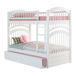 Atlantic Furniture - Windsor Twin Over Twin Bunk Bed in White Fini - Comes with a slat kit for mattress support. Includes two 14 pieces engineered hardwood slat kits. Optional underbed raised panel trundle not included. Made of premium, eco-friendly hardwood with a 5-step finishing process. Solid hardwood Mortise & Tenon construction. 26-Steel reinforcement points. Boasts long arches and 3 in. corner posts. Designed for durability. Guard rails match panel design. Meet or exceed all ASTM bunk bed standards, which require the upper bunk to support 400 lbs.. Clearance from floor without trundle or storage drawers: 11.25 in.. 79.75 in. L x 42.75 in. W x 71 in. H. Optional raised panel drawers: 74 in. L x 24.38 in. W x 12 in. H. Optional raised panel trundle: 74.75 in. L x 40.38 in. W x 11.63 in. H. Bunk Bed Warning. Please read before purchase