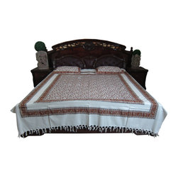 Mogul Interior - Pink Indian Boho Bedcover Set With 2 Pillows - Handloom Cotton
