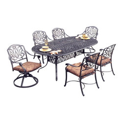 Home Styles - Home Styles Floral Blossom 7 Piece Dining Set in Charcoal - Home Styles - Dining Sets - 55583458 - By combining outdoor elements such as ceremonial and abstract floral designs, the Floral Blossom Dining Set by Home Style is brought to life.