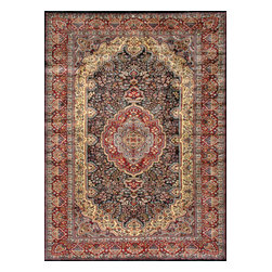 Rugsville - Rugsville Kashmir Medallion Blue Red  Silk Rug 11001-5x7 - Kashmir carpet is single knot weave for softness.The Carpet colors are more jewel tones. Natural dyes are used for coloring the yarn. At the center of the field of this exquisite rug is a medallion in a concentric circle motif. The most popular design of these carpets is medallion carpet.The single knot pile is less resistant to touch and pressure. All the carpet are quite unique in themselves. Each piece a master pieces others by their color-way and other details. Colors of the rug red and blue.