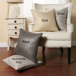 None - Metallic Weave 18-inch Decorative Pillows (Set of 2) - Give some style to your sofa with this decorative throw pillow. It comes in one of four metallic colors ranging from gold to gunmetal grey so you can fit it into any type of theme,and it has a muted neutral color on the reverse to make it more subtle.