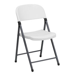 Flash Furniture - Hercules Series White Plastic Folding Chair with Charcoal Frame - When in need of temporary seating this lightweight, portable chair is perfect. Folding chairs can be used for Banquets, Parties, Graduations, Sporting Events, School Functions and Classrooms. This chair will be the perfect addition in the home when in need of extra seating to accommodate guests. If you are hosting an event or party where you need additional seating, you can use the number of chairs you want while storing the rest conveniently out of your way. The chair will not take up anywhere near as much space as chairs that cannot fold when it comes time to clean up. The great thing about this folding chair is that it can be used for both indoor and outdoor events to meet all your party planning needs.