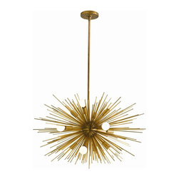 Arteriors - Zanadoo Chandelier, Antique Brass, Small - Radiate brilliant light — and equally brilliant design — on your favorite setting. This supernova of a chandelier is formed from metal spokes with your choice of polished nickel or antique brass finishes.