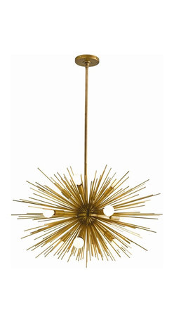 Arteriors - Zanadoo Chandelier, Brass, Small - Radiate brilliant light — and equally brilliant design — on your favorite setting. This supernova of a chandelier is formed from metal spokes with your choice of polished nickel or antique brass finishes.