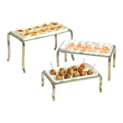 Ceramic Buffet Trays - Satin (Set of 3) - Serve your guests in style at your next party with these Ceramic Buffet Trays. Available in a set of three, these serving trays come with ceramic dishes and metal holders that keep them up off of the table, preventing damage to tables and counter tops while providing a unique look to your buffet table. These Ceramic Buffet Trays are safe for the oven, microwave, and dishwasher.