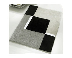 """Small Bath Rug - Modern Anti Skid Bathroom Rug - Grey (21.7"""" x 25.6"""") - Sylish small anti skid contemporary  bathroom rug for small bathrooms or perfect in front of a toilet instead of a contour toilet rug. Washable grey, black and white bath rug with non-slip / non-skid backing that will not break down.  High quality densely woven gray bath mat."""