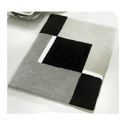 "Small Bath Rug - Modern Anti Skid Bathroom Rug - Grey (21.7"" x 25.6"") - Sylish small anti skid contemporary  bathroom rug for small bathrooms or perfect in front of a toilet instead of a contour toilet rug. Washable grey, black and white bath rug with non-slip / non-skid backing that will not break down.  High quality densely woven gray bath mat."