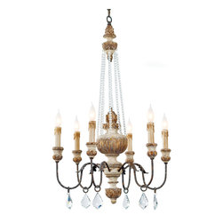 Kathy Kuo Home - Ronsard French Country Crystal Bead Parisian Chandelier - A magnificent marriage of French Country elegance with Hollywood Regency glamour, this glistening chandelier greets your guests in grand style. Six shining candelabra bulbs, gilded with a gold leaf finish, are reflected by hanging crystal prisms.