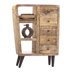 Inova Team -Rustic Mango Wood Cabinet - A staple piece for any décor, the Atomic Island Cabinet is made from lovely mango wood with a natural finish. Its unique and fun shape makes it a conversation piece, no matter what room you place it in, while its 3 shelves and 5 drawers make it great for displaying and storing your favorite items.