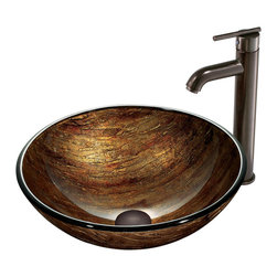 VIGO Industries - VIGO Amber Sunset Glass Vessel Sink and Faucet Set in Oil Rubbed Bronze - The VIGO Amber Sunset glass vessel sink and faucet set will bring warm tones to your home.