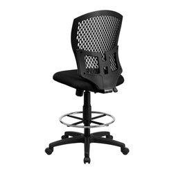 Flash Furniture - Flash Furniture Office Chairs Plastic Back Office Chairs X-GG-D-KB-GYS8593-LW - This contemporary Designer Back Office Chair features a perforated plastic back and will keep you cool and comfortable throughout the day. This chair features a back tilt lock and pneumatic seat lift. [WL-3958SYG-BK-D-GG]