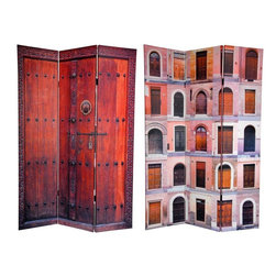 Oriental Furniture - 6 ft. Tall Double Sided Doors Canvas Room Divider - Open up new design possibilities with these stunning images of remarkable European doors and doorways. On the front is a colorful collage of unique portals from Ferrara Italy, each beautifully carved and expertly photographed. On the back is timeless image of a heavy, black iron fitted set of courtyard double doors, set into a wonderful hand carved jam. These uniquely attractive photographs will bring beautiful decorative accents to your living room, bedroom, dining room or kitchen. This three panel screen has different images on each side, as shown.