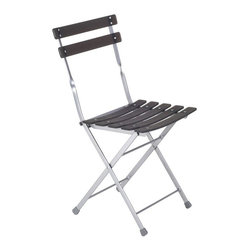 Euro Style - Slat-Bottom Folding Chairs in Graphite Black - Set of 4. Aluminum powder epoxy coated steel frame with transparent resin slats. Chair folds. Pictured in Graphite Black/Aluminum. 16.54 in. W x 17.52 in. L x 31.5 in. H (9.7 lbs.)