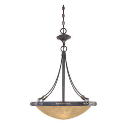 Designers Fountain - Designers Fountain 97331-WSD 3-Light Inverted Pendant - Weathered Saddle Finish, Satin Crepe Glass/Shade Handsomely styled ironwork and hand forged details display a casual rustic Spanish style.