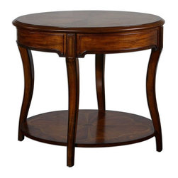 Uttermost - Corianne Round Lamp Table - Expert inlay of cedar burl, cherry, primavera and mahogany veneers on carved, solid basswood with glowing, hand rubbed pecan finish.