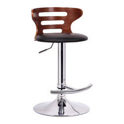 Baxton Studio - Baxton Studio Buell Walnut and Black Modern Bar Stool - Kitchen counter, restaurant bar, basement lounge... This contemporary bar stool is an instant fix to any lackluster space! The Buell Modern Bar Chair is made from a durable molded plywood seat finished with faux walnut veneer and a black faux leather seat. Polyurethane foam cushioning keeps it comfy. Functional features are not lacking: the stool includes a steel base with chrome finish, adjustable height gas piston, and 360 degree swivel. A protective plastic ring acts as a barrier to keep the base from scratching hard flooring.