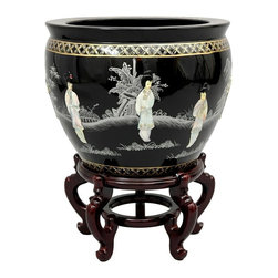 Oriental Unlimted - 16 in. Dia. Black Ladies Fishbowl - Stand not included. Stunning Black lacquer with appliqued mother of pearl ladies design. Inside is finished in a matte Black lacquer with Green and Pink floral design. Inside: 12.75 in. Dia. at the rim and 12 in. H base to rim. 10.5 in. Dia. at the base. 13.25 in. H x 16 in. Dia.