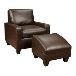 Chelsea Home Martin Leather Chair with Optional Ottoman - Dodge Chocolate - Nothing says luxury like leather, so add the Chelsea Home Martin Leather Chair with Optional Ottoman - Dodge Chocolate to any seating area to instantly upgrade your style. This compact arm chair can be tucked just about anywhere, but it's still generously sized and padded for comfort all evening long. The glossy brown leather has been treated with polyurethane for protection, ensuring that it will last as long as the durable wood frame and supportive Leggett & Platt sinuous springs. Innovative 1.8 density Dacron wrapping improves the shape and longevity of your cushions. The optional matching ottoman is cleverly shaped to support the curve of your legs, guaranteeing that this chair is sure to be coveted on movie night.About Chelsea Home FurnitureProviding home elegance in upholstery products such as recliners, stationary upholstery, leather, and accent furniture including chairs, chaises, and benches is the most important part of Chelsea Home Furniture's operations. Bringing high quality, classic and traditional designs that remain fresh for generations to customers' homes is no burden, but a love for hospitality and home beauty. The majority of Chelsea Home Furniture's products are made in the USA, while all are sought after throughout the industry and will remain a staple in home furnishings.