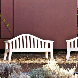 Giulietta Outdoor Bench by Serralunga - Giulietta Outdoor Bench by Serralunga. A bench in a garden is not only a place to sit but becomes a central feature, a focus point, a place that attracts the eye. The multiple and varied use of the bench allows it to adapt to any type of garden and space. For this reason, it's shape it neutral and simple. The classic English wooden bench is the formal and design reference used. The bench seeks to solve a set of formal, functional, production and commercial problems but, above all, the design attempts to evoke the idea of the bench. Giulietta Outdoor Bench by Serralunga are designed by Paolo Rizzatto.