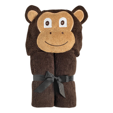 """Yikes Twins - Baby Monkey Hooded Towel - Are you ready for some Monkeying around after the bath?  They we have the towel for the little Monkey in your life!   Micah is  crafted from soft, 100% cotton, dark brown terry and has a fluffy, soft, smiley, face. Suitable for children ages birth to 2yrs.  Towel size 27""""x51"""", hood size 9""""x 7"""". Machine wash."""