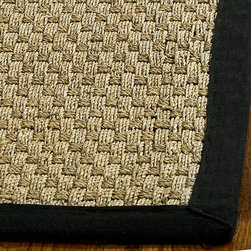 Safavieh - Casual Handwoven Sisal Natural/ Black Seagrass Runner (2'6 x 14') - Dress up any space with this natural hand-woven rug made from seagrass with a cotton backing. The fringeless border on this rug gives it a clean look.