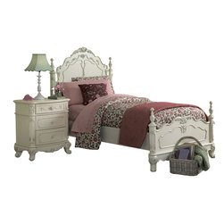 Homelegance - Homelegance Cinderella 3-Piece Kids' Poster Bedroom Set in White - The Cinderella collection is your little child's dream. The Victorian styling incorporates floral motif hardware, ecru painted finish and traditional carving details that will create the feeling of a room worth of a fairy tale princess.