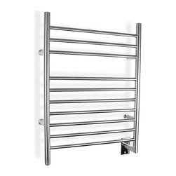 Warmly Yours - Infinity Model Hardwired Towel Warmer - Bring a touch of luxury into your home with this stainless steel bathroom towel warmer. With an elegant profile and featuring 10 sleek bars that provide ample space for warming towels or bathrobes, you'll look forward to getting out of the shower!