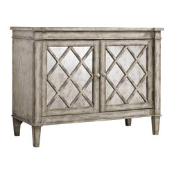 Hooker Furniture - Villa Blanca Chest - This chest is all about the WOW factor. The antique mirrored doors and lattice design will look stunning no matter where you decide to put it: foyer, dining room or living room. It has an adjustable shelf and ventilation if you decide to stash your electronics away.