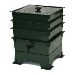 """The Worm Factory - The Worm Factory 3-Tray Recycled Plastic Worm Composter - Green - 3-TRAYGREEN - Shop for Trash Receptacles from Hayneedle.com! What is The Worm Factory 3-Tray Recycled Plastic Worm Composter - Green and how does it work?This green 3-tray worm composter is a multi-tray compost system that helps manage the composting process and provides you with nutrient-rich compost for your garden. It's easy to set up and simple to use. Fill each stacking tray with kitchen scraps such as newspaper junk mail vegetables fruits egg shells coffee grounds paper and cardboard into nutrient-rich compost for your garden. Most """"Master Gardeners"""" consider worm castings to be the very best compost available. Your plants will thrive with this all-natural compost. Sorting out the undigested scraps can be a messy inconvenient chore with ordinary worm composters. Worms start in the bottom tray and migrate upward as they break down the waste. This allows worms to separate themselves from the finished compost making it easy to add nutrient-rich fertilizer to plants and gardens without sorting worms. Additionally nutrient-rich moisture is captured in the collection tray and can be drained as liquid fertilizer known as """"worm tea"""". What are the benefits of using The Worm Factory? The Worm Factory is Compact: With its square design and having the smallest footprint of all the worm composters The Worm Factory 3-Tray Worm Composter - Green works great for anyone with space requirements. The Worm Factory uses a tray stacking system which allows it to hold the largest capacity of compost in the smallest amount of space. The Worm Factory is Odorless: The ventilation lid allows proper air flow and the instruction manual helps you manage The Worm Factory correctly to prevent odor. This means that it can be used year round and can be housed anywhere including apartments kitchens garages porches etc. The Worm Factory is Easy to Manage: The 16-page instruction manual makes the setup process fa"""
