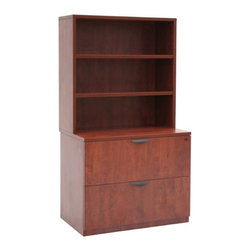 """Regency - Legacy Lateral File with Open Hutch - Features: -Lateral file. -Legacy collection. -Available in Cherry and Mahogany laminates. -Lateral file with open storage hutch offers excellent storage areas. -Full suspension locking drawers. -Letter/Legal filing. -Durable thermal fused laminate with 3mm edge in your choice of two colors. -Adjustable glides for uneven surfaces. -Open storage hutch has one fixed/one adjustable shelf. -Lateral file is fully assembled with full suspension drawers. -2 Drawer letter/legal lateral file. -Stacking 2-shelf hutch with 1 adjustable, 1 fixed shelf. -File drawers lock. -Lateral fully assembled. -Assembly required. -Dimensions: 65"""" H x 36"""" W x 24"""" D."""