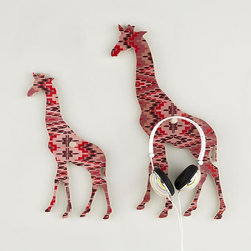 Flashy Forest Giraffe Wall Hook, Pink/Purple - I would hang this on my wall with or without the hook — the print and design are just gorgeous.